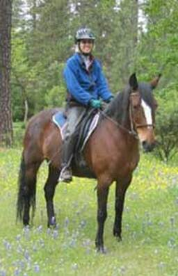Chips and his owner enjoy the trail after improved mobility is gained using Whole Horse formulas